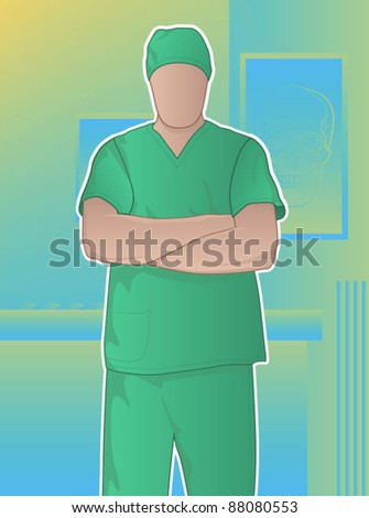 Surgeon standing in an operating room with his arms crossed - stock vector