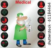 Surgeon with a selection of medical icons - stock vector