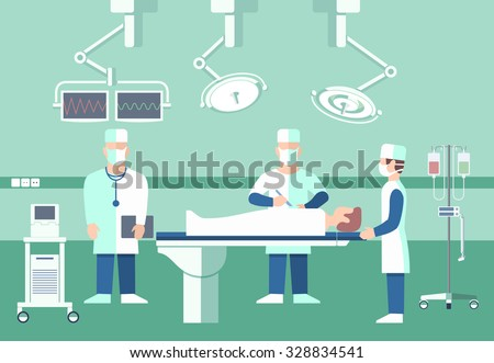 Surgeons in operation theater. Vector medical concept. Room with people, scalpel and screen, disease and pulse patient, assistant doctor illustration - stock vector