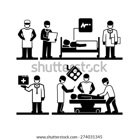 Surgeons Operating Doctor holding medical records Patient lying in a hospital bed  - stock vector