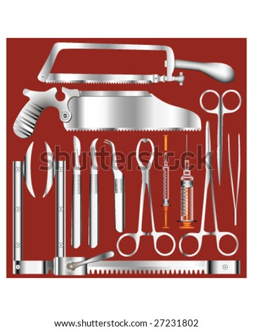 Surgical tool set in stainless steel texture - vector illustrations - stock vector