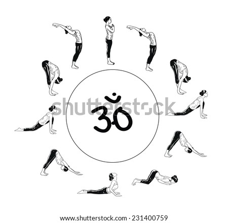 Suria Namaskar - Sun Salutation Complex Of Yoga Asanas - stock vector