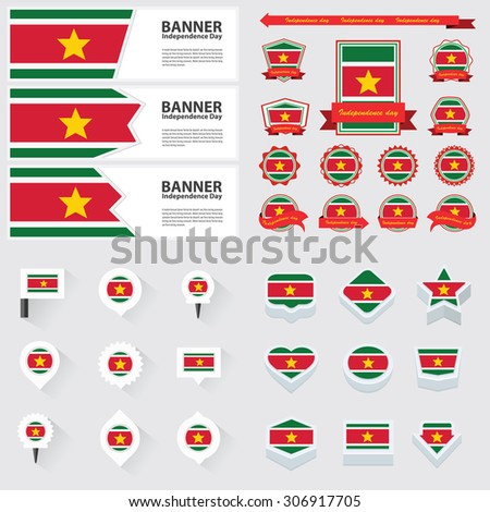 suriname independence day, infographic, and label Set.
