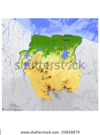 Suriname. Physical vector map, colored according to elevation, with rivers and selected cities. Surrounding territory greyed out. 35 layers, fully editable. Data source: NASA - stock vector