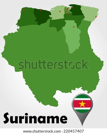 Suriname Political Map Green Shades Map Stock Vector 220457407