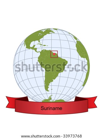 Suriname, position on the globe