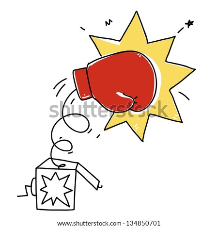 surprise box with a boxing glove strike. cartoon illustration