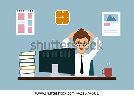 Surprise despair is expressed by a man in the workplace.Flat style