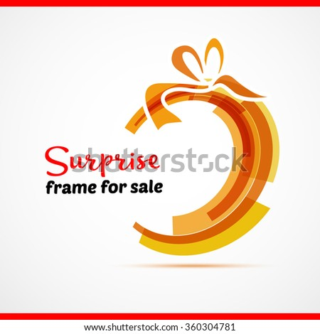 Surprise gift card with red ribbon and satin bow. Vector illustration. Circle and bow - stock vector