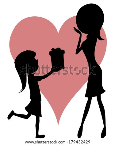 Surprise Mom! Cartoon-style art with black silhouettes of a girl with long hair giving a gift box to her mother.