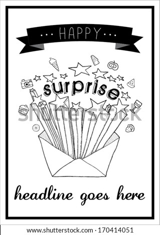surprise print/ vector poster design template/ layout design/ background/ abstract web design/ wallpaper - stock vector