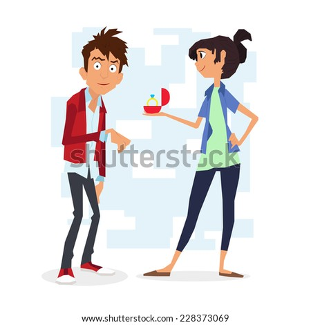 surprise proposal. uncomfortable situation. girl makes a proposal to the guy. gives a ring. vector illustration. characters. - stock vector