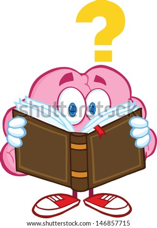 Surprised Brain Cartoon Character Reading A Book With Question Mark. Vector Illustration - stock vector