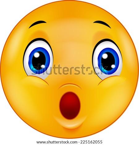 Surprised emoticon smiley - stock vector