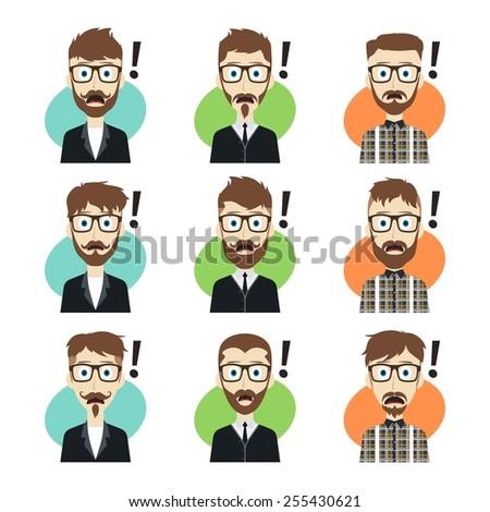 surprised guy cartoon set - stock vector