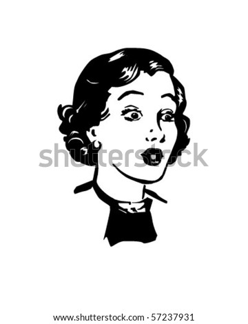 Surprised Woman - Retro Clip Art - stock vector