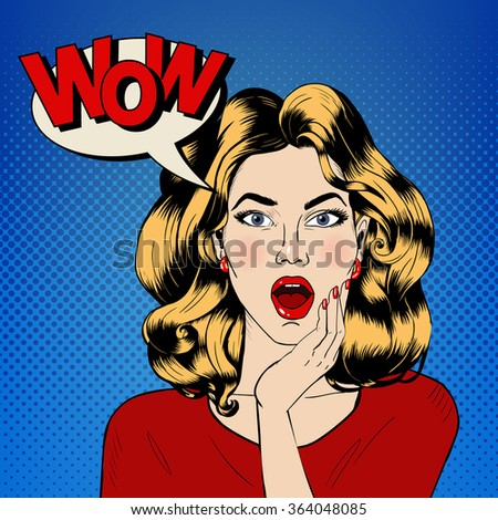 Surprised Woman with Bubble and Expression Wow in Comics Style. Vector illustration - stock vector