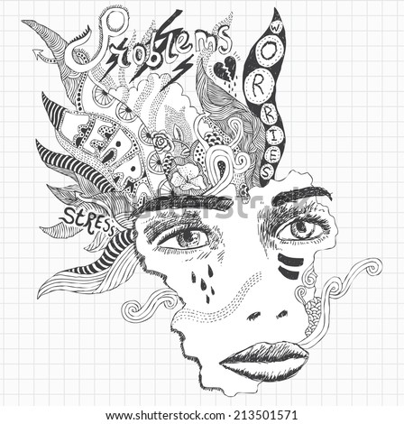 Surreal doodle sketch of a young woman experiencing huge stress and depression - stock vector