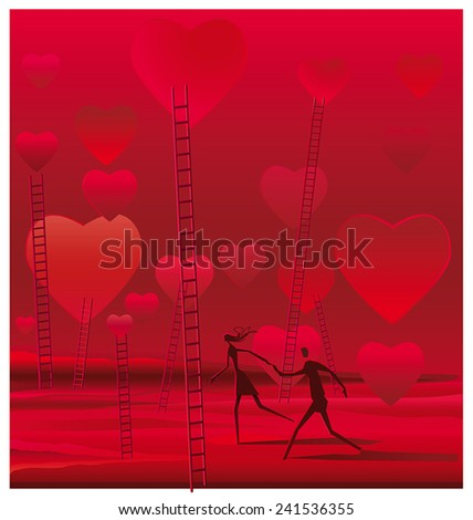 Surreal illustration of couple walking on a bucolic landscape full of hearts and stairs. - stock vector