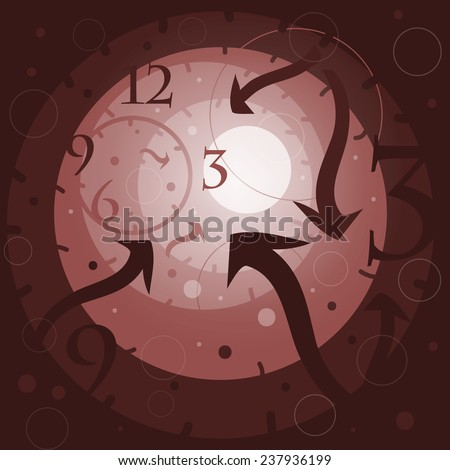 Surreal imagine of back to the past tunnel. Time machine concept. Vector illustration design. - stock vector