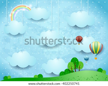 Surreal landscape with hanging clouds and hot air balloons. Vector illustration  - stock vector