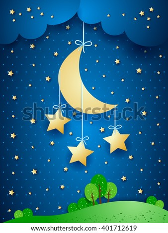 Surreal landscape with hanging stars, vector illustration  - stock vector
