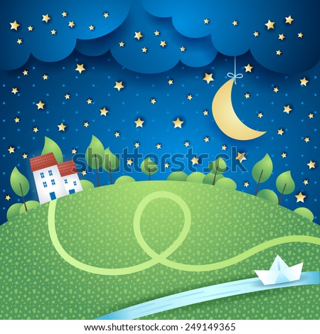 Surreal landscape with river, vector eps10 - stock vector