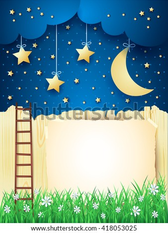 Surreal landscape with stairway, moon and copy space. Vector illustration  - stock vector