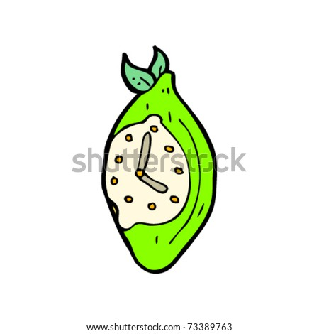 surreal lime clock cartoon - stock vector