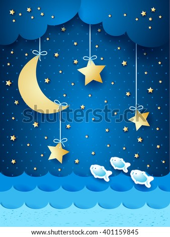 Surreal seascape with moon and stars, vector illustration  - stock vector