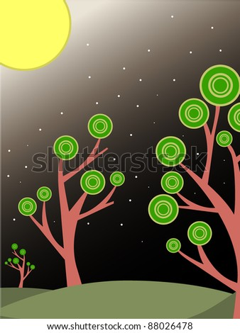 Surreal trees lit by big bright moon and stars vector illustration