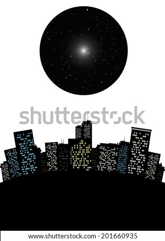 Surrealistic cityscape with dark moon like sky with stars or a black hole conceptual vector illustration - stock vector