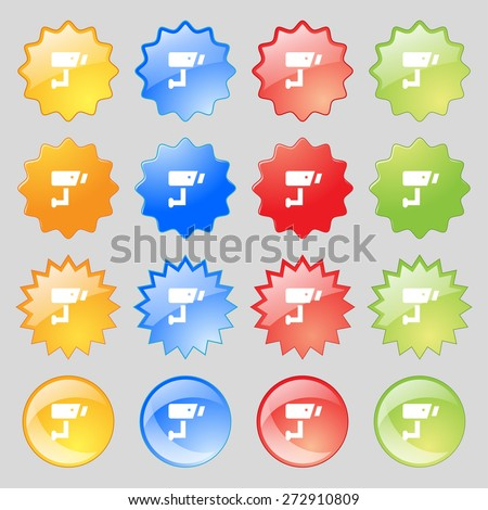 Surveillance Camera icon sign. Big set of 16 colorful modern buttons for your design. Vector illustration - stock vector