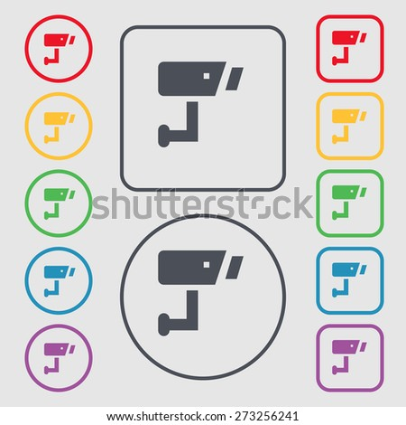 Surveillance Camera icon sign. symbol on the Round and square buttons with frame. Vector illustration - stock vector