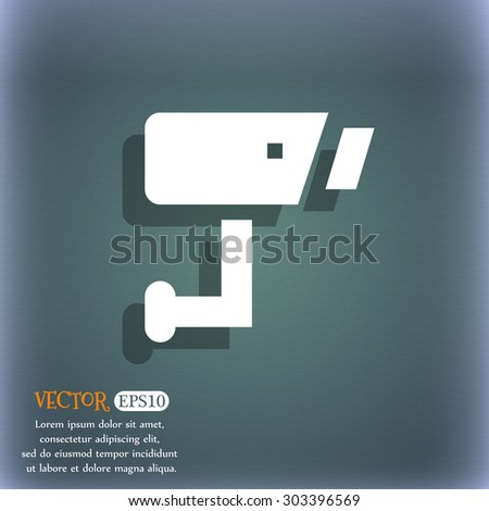 Surveillance Camera  icon symbol on the blue-green abstract background with shadow and space for your text. Vector illustration - stock vector