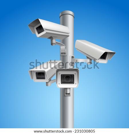 Surveillance camera safety home protection secrecy inspection system pillar vector illustration - stock vector