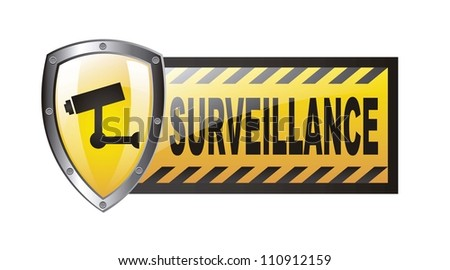 surveillance with protection shield isolated over white background. vector - stock vector