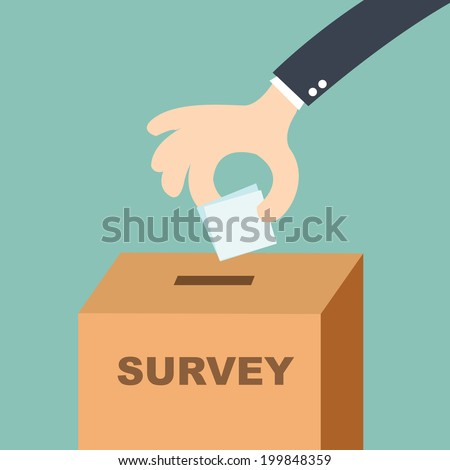 survey concept - hand putting voting paper in the ballot box  - stock vector