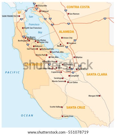 San Francisco Bay Area Stock Images RoyaltyFree Images Vectors - Us map with san francisco