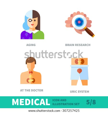 Surveys of health in old age. Preventive examinations of the brain, genitourinary system in medical icon and illustration vector set - stock vector
