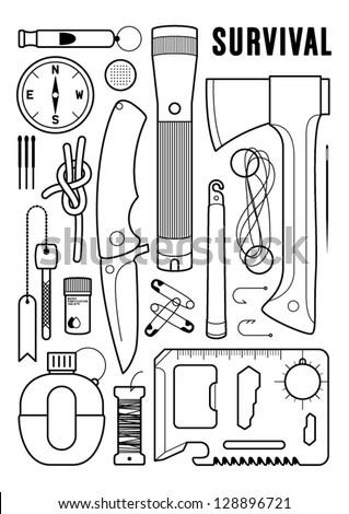 survival kit - stock vector