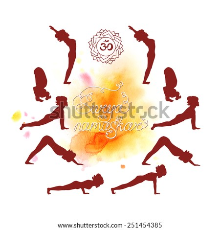 Surya Namaskar (Hatha Yoga) watercolor (silhouette) - stock vector