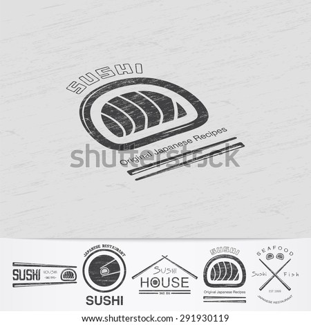 Sushi and rolls a set. Japanese kitchen. Food service. Old retro vintage grunge. Scratched, damaged, dirty effect. Monochrome typographic labels, stickers, logos and badges. Flat vector illustration - stock vector