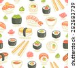 Sushi and rolls seamless pattern - stock photo