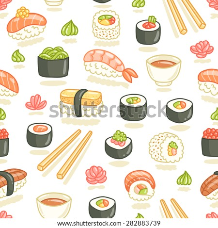 Sushi and rolls seamless pattern - stock vector