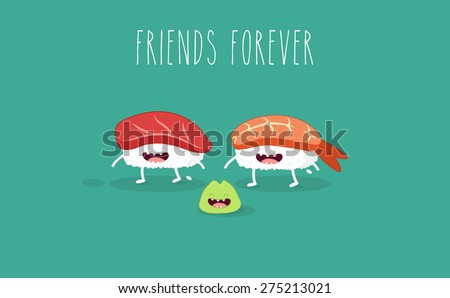 Sushi and wasabi. Japanese food. Vector cartoon. Friends forever. Comic characters. - stock vector