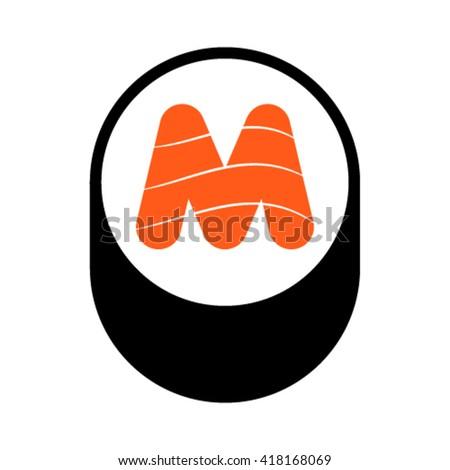 Sushi font, letter M, vector. - stock vector