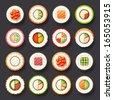 sushi icon set - stock photo