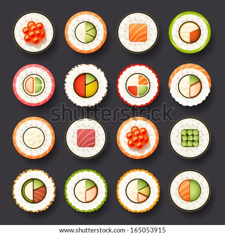sushi icon set - stock vector