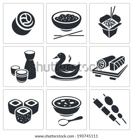 Sushi Icons Set - stock vector